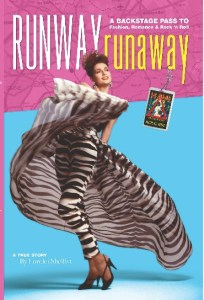Lorelei Shellist, author is pictured on the cover of her book Runway Runaway modeling a zebra striped gown and body suit