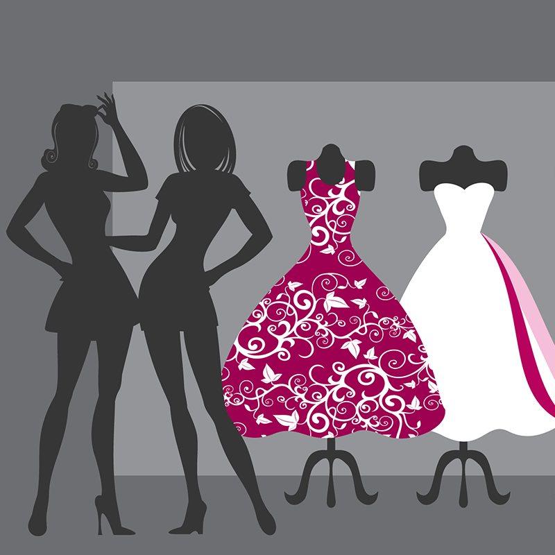 One on One Personal and Image Consulting Sessions with Lorelei Shellist Fashion and Image COnsultant - graphic silhouette figures of two women with dress mannequins