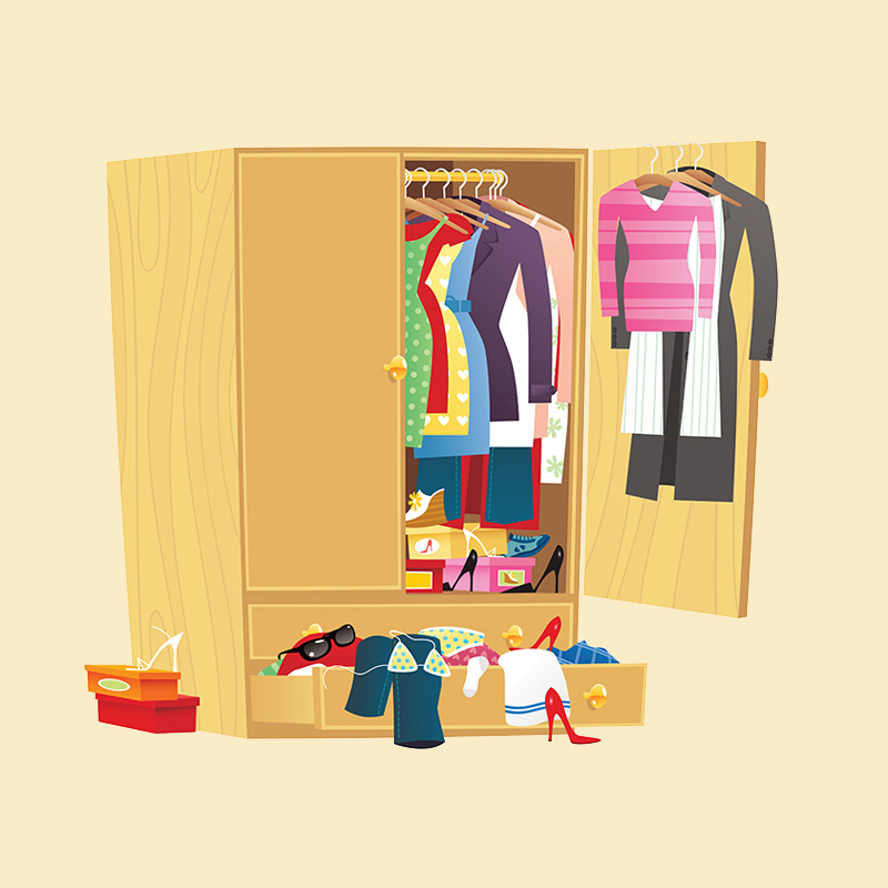 Teleseminar - Solve the Closet Puzzle - Become your own Fashion Icon™- armoire with clothes and shoes spilling out it