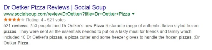 Rich snippets - Search engine results page