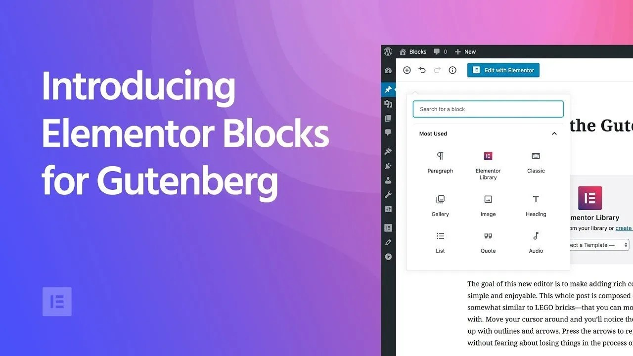 Gutenberg & Elementor