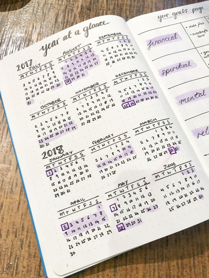 Bullet Journal Year At A Glance