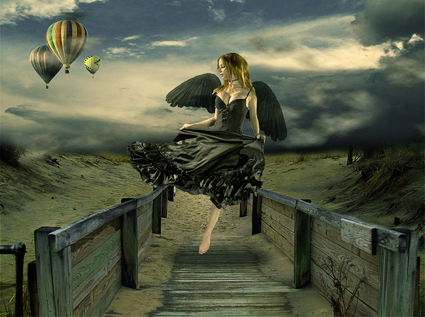 Design Surreal Composition Fallen Angel's Dream Fly