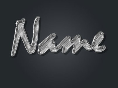 Ultra Glossy Liquid Metal Text Effect