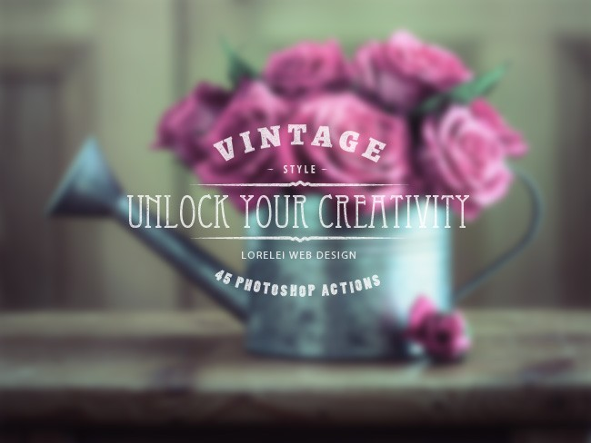 "Download A Super Bundle of 45 Vintage Actions ""Unlock Your Creativity"" - Premium Photoshop Actions Lorelei Web Design"