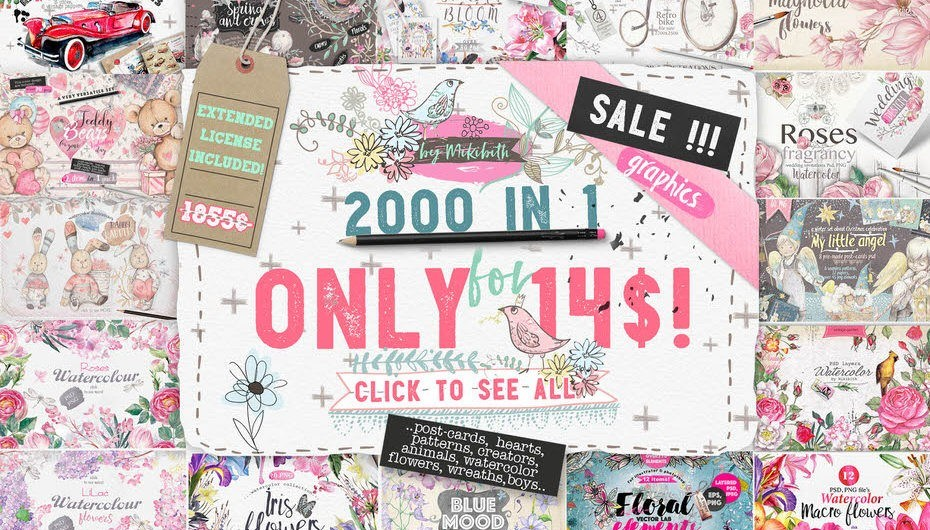 Download 2000 Graphics in 1 Bundle - Only This Week! - Photoshop Resources Lorelei Web Design