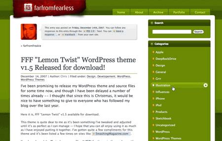 Lemontwist in 100 Excellent Free WordPress Themes