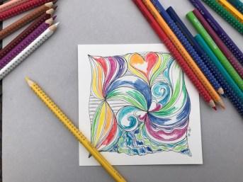 3. Mit Farbstift belebt...