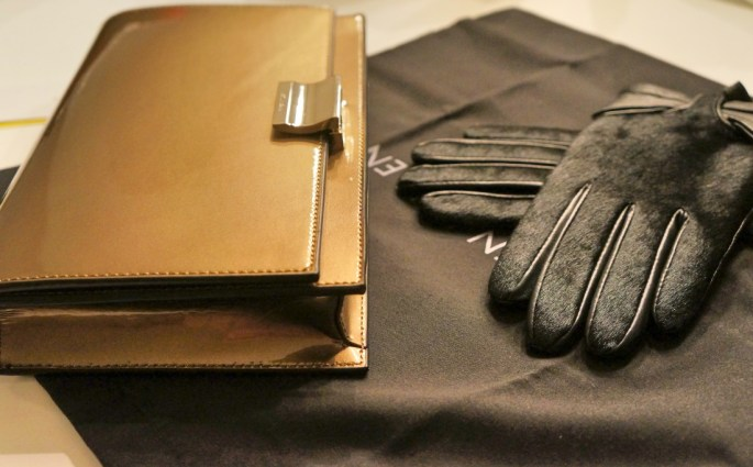 Leather and Fur black gloves Golden Clutch from Karen Millen
