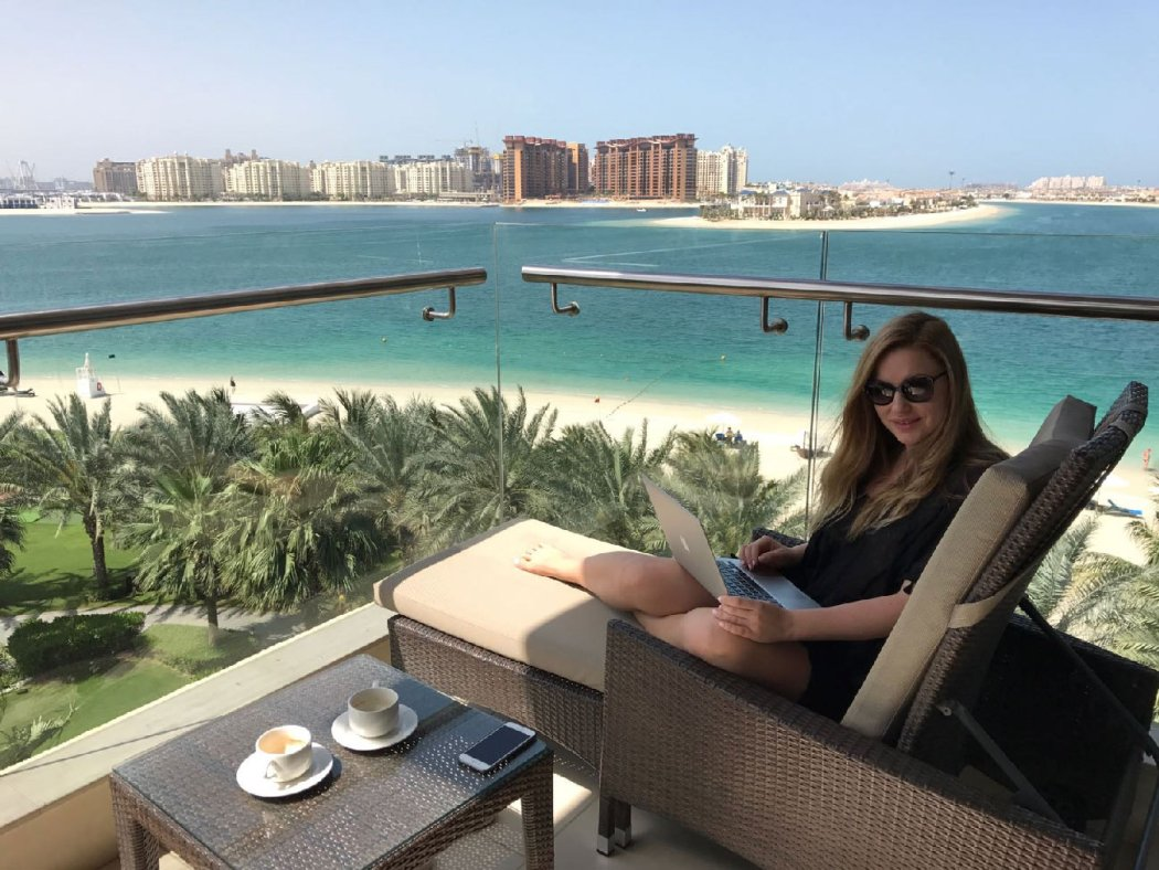 Balcony view in Rixos the palm dubai, working on the terrace of our Junior suite room