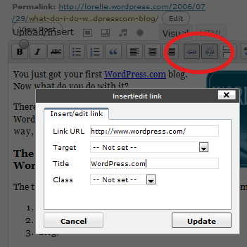 WordPress Edit Post Panel - link buttons and panel