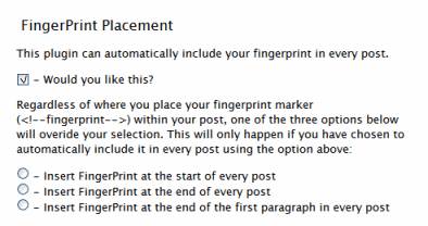 Maxpower's Digital Fingerprint WordPress Plugin Updated with ability to fingerprint every post