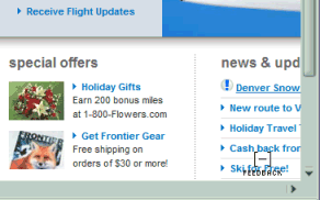 Frontier Airlines News Alert scrolls off the page
