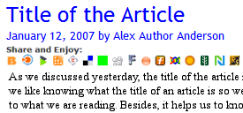 Example of social bookmarking links added under the post title information