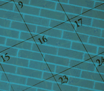Graphic of a calendars with bricks in the background, copyright Lorelle VanFossen