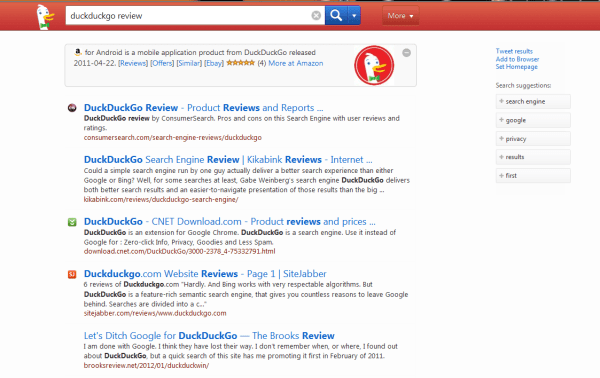 DuckDuckGo Search Results page example of the results ...