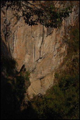 Inca draw bridge at the foot of the Machu Picchu mountain