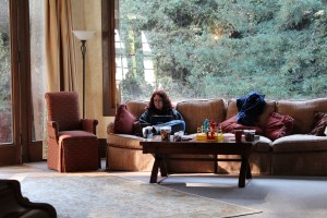 Lisa at work in the Mansion's common room. Photo by Loren Rhoads.