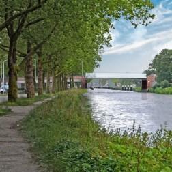 Sint Sebastiaan bridge - North-east view with lifted bridge
