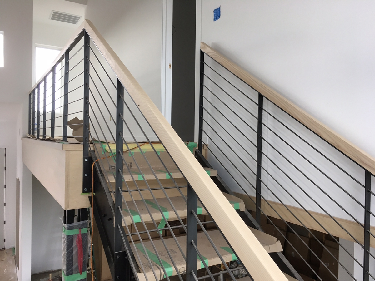 Horizontal Rod Railing Stair Systems Lorenzo Metalworks | Black Horizontal Stair Railing | Metal | Linear | Interior | Wood | Exterior