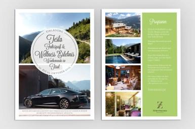 Grafikdesign/Branding: Einladung Journalisten Tesla | ZillerSeasons Hotel & Chalets