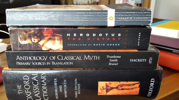 My spouse studied classical archeology, and I'll be pilfering his book collection for flute stories.