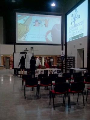 Allestimento presentazione presso la Biblioteca Multimediale Fabriano