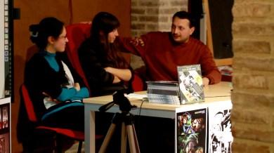 La coordinatrice del progetto Federica Giulietti, la relatrice Sara Bonfili (eventisette) e l'autore della storia Lorenzo Ramadoro. Riprese di Samuele Pierantoni.