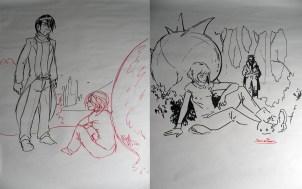 Disegni di Lorenzo Magalotti e Simone de Paolis eseguiti dal vivo durante la lettura del primo brano del fumetto: l'incontro fra Gentio Lodel e Gema Suave affianco la lapide di Henry Lodel.