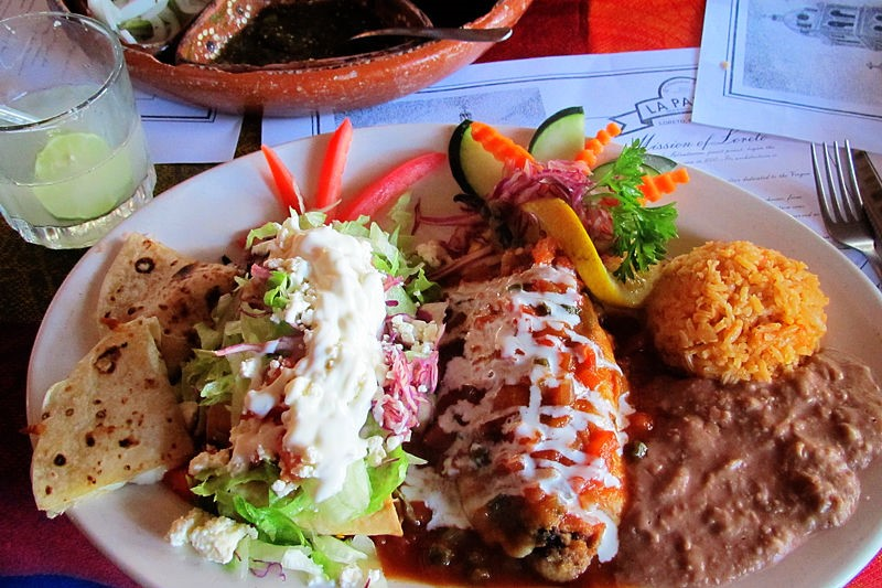 Mexican combination at La Palapa in Loreto, Mexico