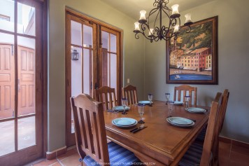 When you dine in the house, join around the dining room table.