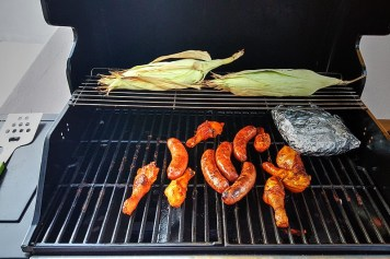 A gas grill with four internal burners and a side burner was added in the summer of 2014 so you can grill your favorite meats and/or vegetables!