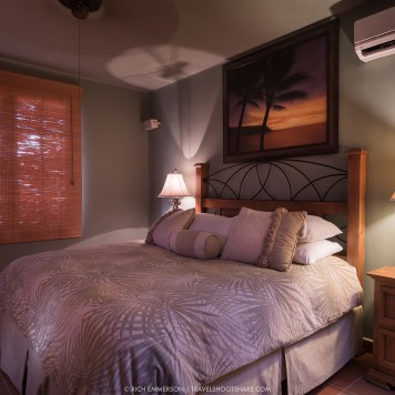 Each master suite features a plush king bed.