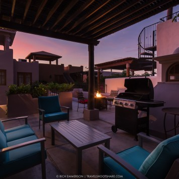 Upstairs is a patio with views of the Sea of Cortez and the Sierra de la Giganta mountains. This is the perfect place to enjoy morning coffee, margaritas at sunset or a bottle of wine under the stars!