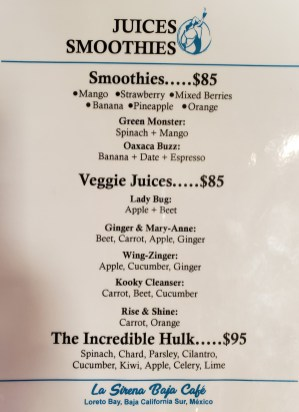 La Sirena Loreto Mexico Juices Smoothies Menu
