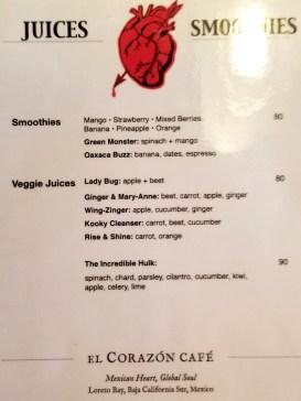 Juices menu as of January 2019