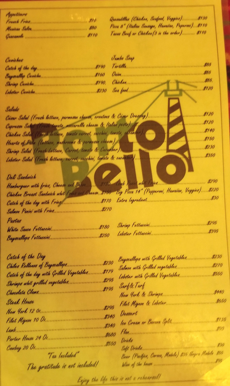 Pedro's menu January 2019