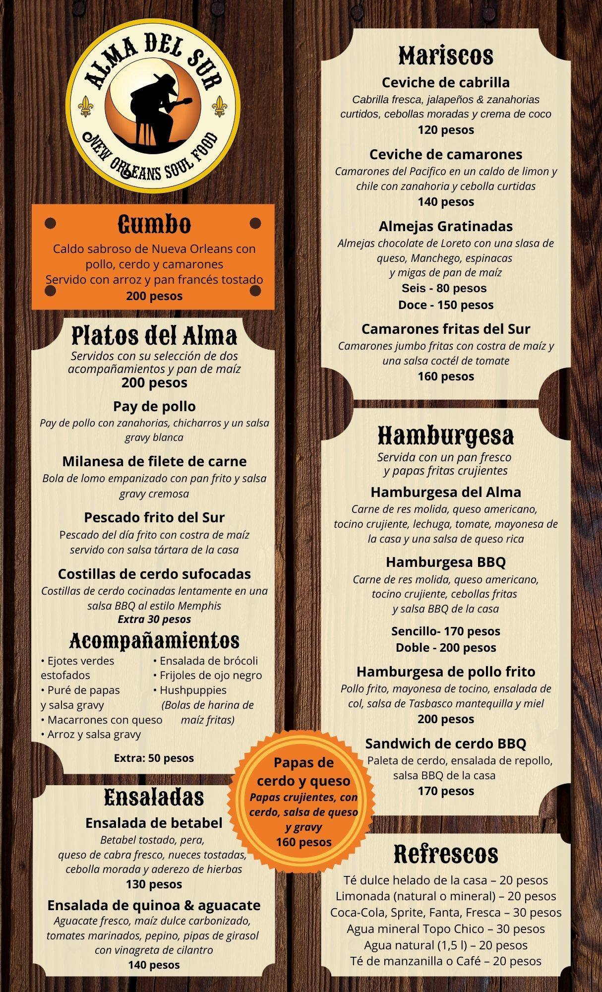 Alma Del Sur Loreto Mexico 2021 Menu Spanish