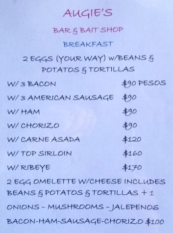 Augie's Bar & Bait Shop Breakfast menu 06/2019