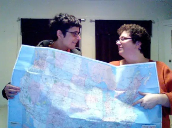 Karen and Lori with our map.