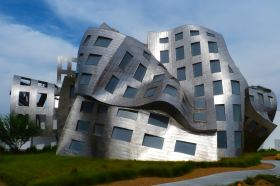 Dissociation during ketamine infusions may cause strange visual images, like this melting building.