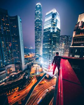 Man stepping off skyscraper from despair of insomnia and suicide.
