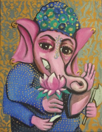"""""""Portrait of Ganesh"""" 2016, 11 x 14"""", oil and gold leaf on canvas."""