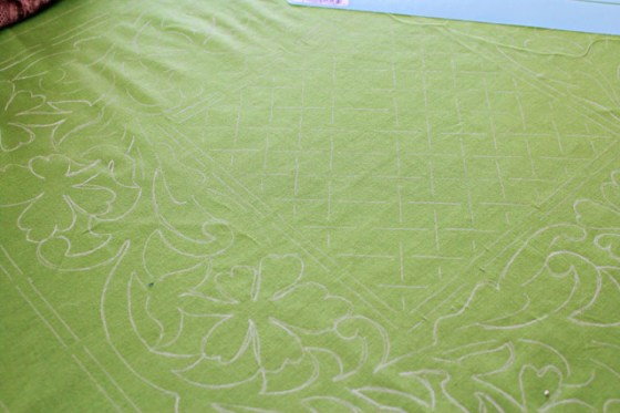 Shamrock Quilt, Geranium Stencil, The Stencil Company, Free motion quilting