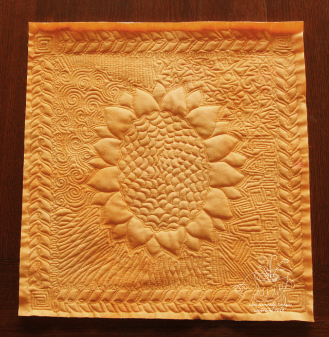 Sunflower Quilt, Free Motion Quilting