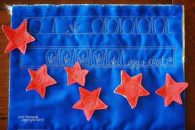 Free Motion Quilting, The Egg and Dart pattern