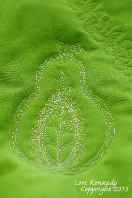 Pear, Free Motion Quilting
