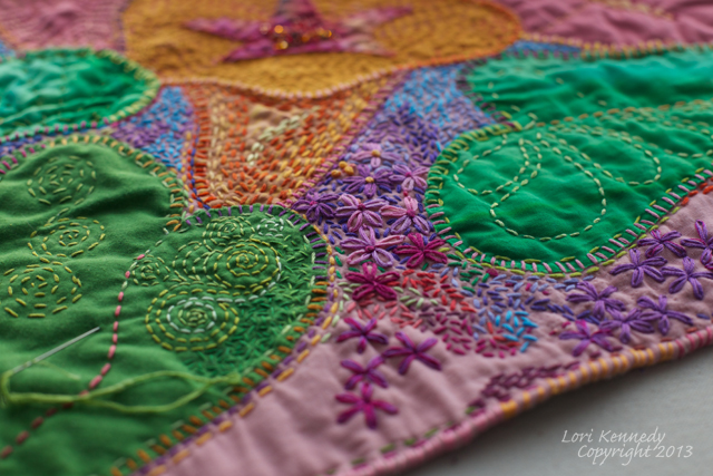 Hand applique, Hand Quilting, Flowers