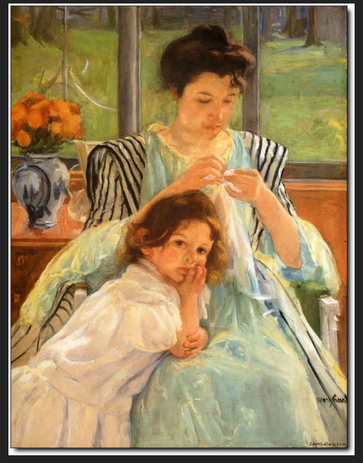 Young Mother Sewing - Lori Kennedy Quilts