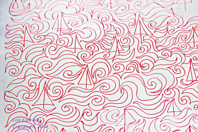 Doodle, Saillboat, Continuous Line Design